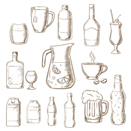 Assorted beverages and drinks icons including fruit juice, beer, soda, beer, alcohol, champagne, milkshake, liquor, milk, coffee, liqueur. Sketch style icons