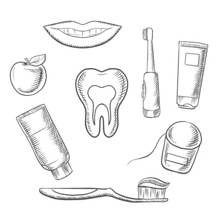 toothy: Dental hygiene medical icons with cross section of healthy tooth surrounded by toothbrush, toothy smile, apple, toothpaste and floss. Sketch style Illustration