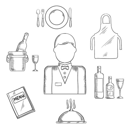 sketched icons: Waiter profession sketched icons with waiter man in uniform, bow tie encircled by menu book, apron, tray with bottles and glass, champagne in ice bucket, plate with fork, knife and spoon, silver cloche. Vector sketch Illustration