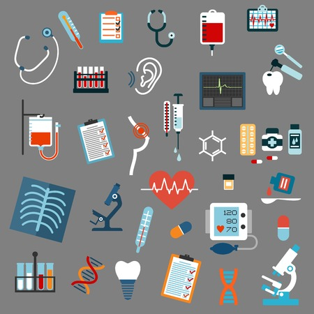 Medical diagnostics, testing, equipment and treatment flat icons with stethoscopes, microscopes, thermometers, medication pills, syringe, blood test tubes and bags, x-ray, ecg, blood pressure, hearing and breast testing, dna and tooth implant Illustration