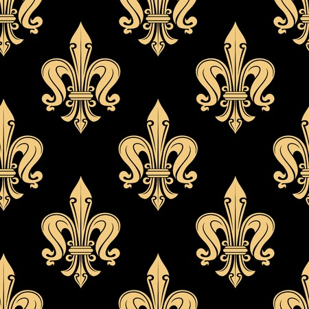 luxury background: Vintage seamless golden fleur-de-lis pattern with decorative petals and curlicues ornament on black background. Luxury interior accessories or wallpaper design usage Illustration