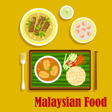 food illustration: Malaysian cuisine dinner flat icons with nasi lemak rice with cucumber, carrot and pepper sticks and fish curry, served on banana leaf, beef rendang, shrimp with sesame seeds and green tea. Flat style vector