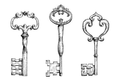 adorned: Decorative vintage skeleton keys isolated sketches, adorned by curly elements. Nice in medieval stylized design, security, tattoo and interior accessories design