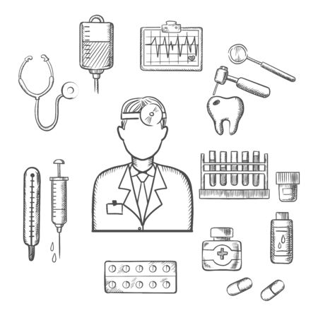 reflector: Doctor therapist in sketch style with medical icons as tubes, flasks, drugs and pills, syringe, dentistry, blood transfusion, ultrasound stethoscope. For healthcare and medicine design usage Illustration