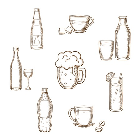 glass bottle: Drinks, alcohol and beverages sketch icons of a wine bottle and glass, beer, coffee, tea, milk bottle and glass, orange juice and soft drink soda. Sketch vector icons Illustration