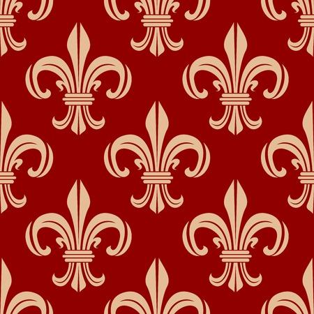 vintage scrolls: Red french royal seamless vector pattern of vintage fleur-de-lis symbols with elegant beige leaf scrolls. Heraldry background or interior accessories usage