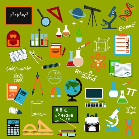 material escolar: útiles escolares y los iconos planos de educación con lápices, libros, reglas, cuadernos de notas, calculadora, pizarras, globo, computadora, mochilas, microscopios, papelería, átomo, ADN, lupa, vidrio de laboratorio, el telescopio, fórmulas y brújulas Vectores