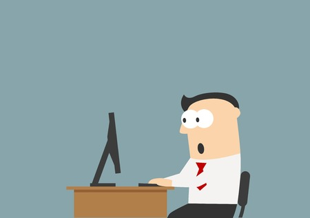 in amazement: Shocked businessman sitting on his workplace and looking at the monitor screen. He reading something unbelievable. Surprise, shock, amazement, emotion and expression concept usage Illustration