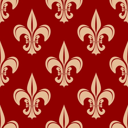 victorian wallpaper: Seamless fleur-de-lis floral pattern with victorian royal beige lilies on red background. May be used as wallpaper,  interior or textile design