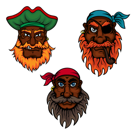 piracy: Cartoon dark skinned bearded pirates captain and sailors with eye patch, smoking pipe, earrings, bandannas and hat. Children book, piracy or adventure themes usage