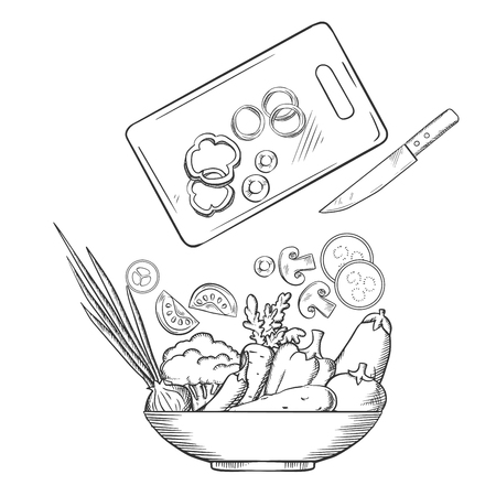 cucumbers: Salad preparation with bowl of fresh cucumbers, bell and chili peppers, tomato, carrot, broccoli, onion, eggplant, chopping board with knife and sliced vegetables above. Sketch style vector