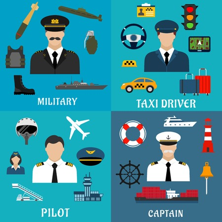 army uniform: Military, sea captain, pilot and taxi driver flat icons with transportation, equipment, services and armed forces professions symbols Illustration