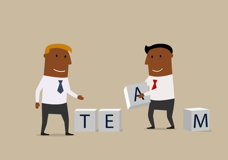 composing: Business partnership, team building work or cooperation business concept. Creative businessmen with alphabet cubes are composing a word Team