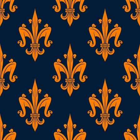 fleurdelis: Orange fleur-de-lis seamless pattern on blue background. For wallpaper or textile design usage Illustration