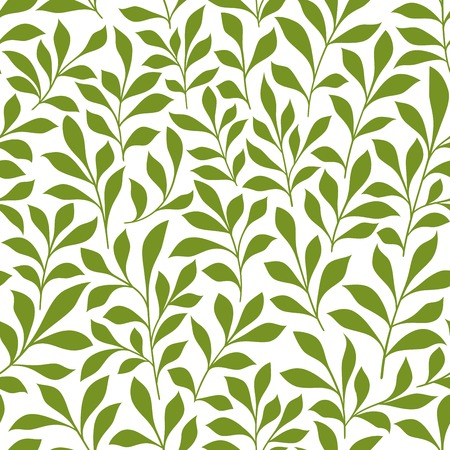 over white: Spring leaves seamless pattern of green twigs with leaves over white background. Retro wallpaper, background, fabric and interior design usage