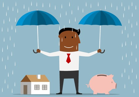 real people: Saving money and investment concept. Friendly smiling african american businessman standing under the rain with open umbrellas and protecting house and piggy bank