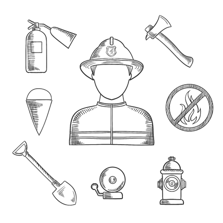 flanked: Firefighter profession sketch icons with man in protective helmet and suit, flanked by fire axe, bucket and shovel, extinguisher, fire alarm, hydrant and prohibition sign . Sketch style vector