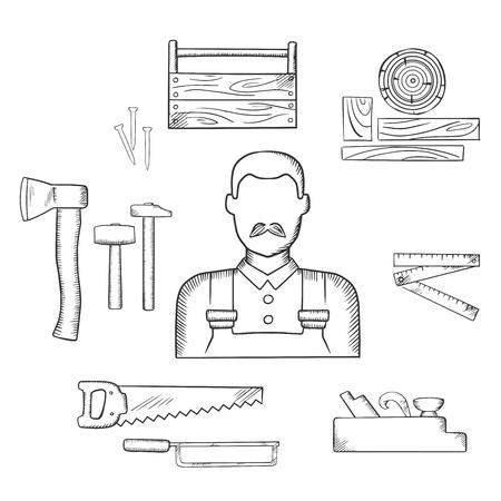 Carpenter beroep schets iconen met moustached man, hout en timmerwerk tools, waaronder hamers, bijl, nagels, houten toolbox, handzaag, ijzerzaag, duimstok, jack vliegtuig