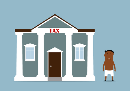 penniless: Taxpayer, tax time and bankruptcy concept. Bankrupt dark skinned businessman lost all money after taxes. Vector Illustration