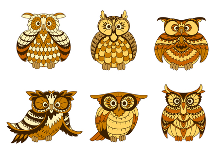 eagle owl: Cartoon owls birds with brown and yellow plumage, ornamental facial discs and ear tufts. Cute birds may be used in children book illustration, Halloween party or education theme. Vector animals