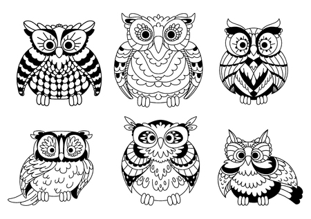 owl eyes: Cartoon colorless old wise great horned owls birds with curly plumage. Decorative birds for children book, Halloween design or mascot usage