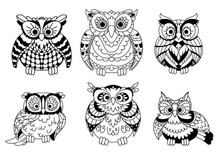 mosca caricatura: Incoloros de dibujos animados antiguos sabios b�hos aves con plumaje rizado. p�jaros decorativos para el libro de ni�os, dise�o de Halloween o el uso de la mascota