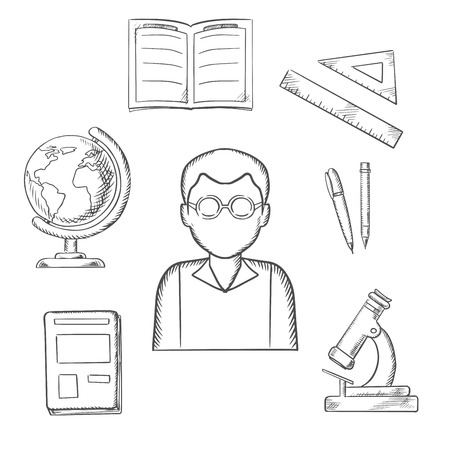 classwork: Education sketched design with a teacher surrounded by a notebook and pen, ruler, book, open classwork, microscope and globe. Sketch style vector