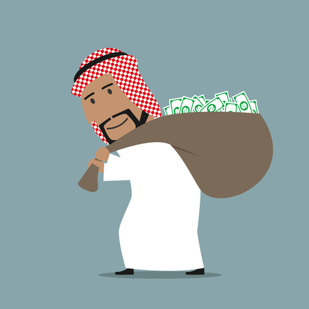 abundance: Successful smiling cartoon arabian businessman carrying heavy and full of dollars bag. Wealth, success or abundance theme design Illustration