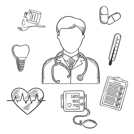 Hand drawn medical icons with a doctor surrounded by a thermometer, tooth, pills, medication, chart, heartbeat and ECG. Sketch style vector Vector Illustration