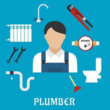 the leak: Plumber profession or service flat icons with radiator of heating system, water faucet and water meter, toilet, adjustable wrench, pipes system with leak, spanners, plunger and plumber man