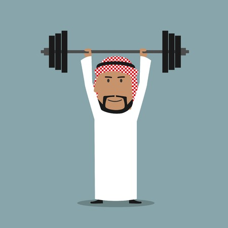 sport cartoon: Business strength and power, career achievement and success concept. Strong arabian businessman holding heavy barbell above head Illustration