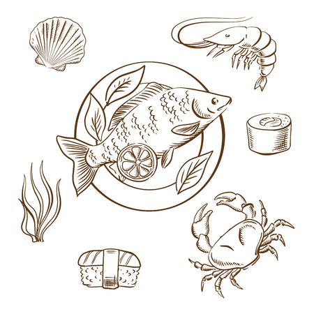 Seafood delicatessen met garnalen, sushi roll, krab, sushi nigiri, zeewier en schelpdieren, geserveerd op plaat met plakjes citroen en salade bladeren. Schets stijl vector