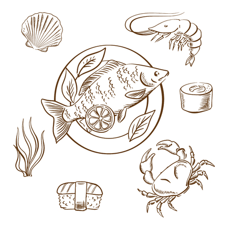 delicatessen: Seafood delicatessen with shrimp, sushi roll, crab, sushi nigiri, seaweed and shellfish, served on plate with lemon slices and salad leaves. Sketch style vector