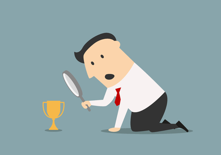recompense: Cartoon disappointment businessman looking at little golden trophy cup through magnifying glass. Competition business concept