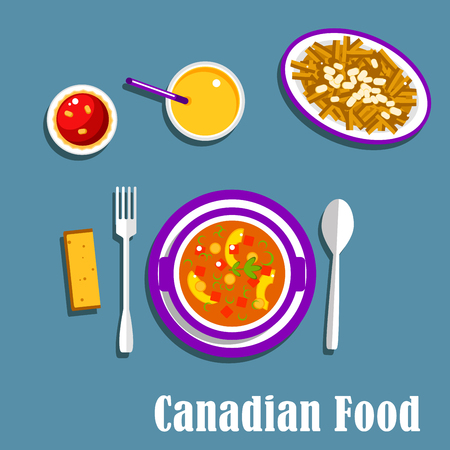 vegetarian cuisine: Vegetarian dinner of canadian cuisine with poutine, french fries, cheese curds and brown gravy, vegetable stew with dumplings, butter tart and orange juice. Flat style Illustration