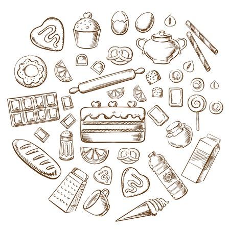 お菓子、デザート、パン屋さんのパンやケーキ、ベーキング成分とキッチン用品。スケッチしたベクトル オブジェクト