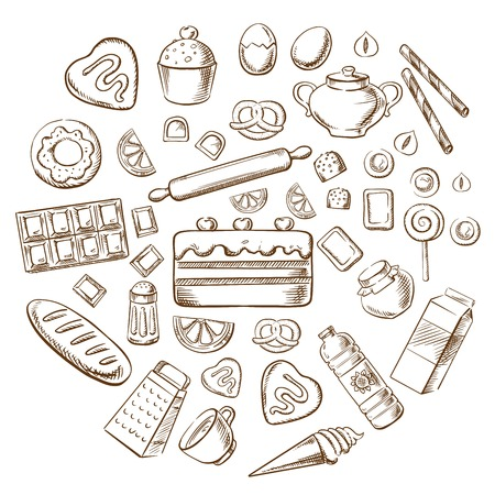 Pastry, dessert and bakery with various breads, cakes, baking ingredients and kitchen utensil. Sketched vector objects Illustration