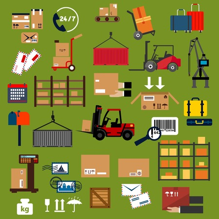Storage, delivery and logistics flat icons with cardboard packages, containers, cargo crane, forklift trucks and hand trucks with boxes and suitcases, warehouse shelf, 247 service, scale, parcels, letters, postage stamps, bar code and mail box