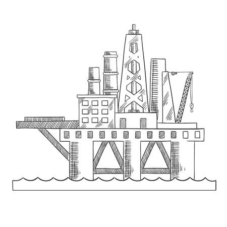 drilling: Rising above the sea oil platform. Platform drilling offshore oil. Sketch style vector