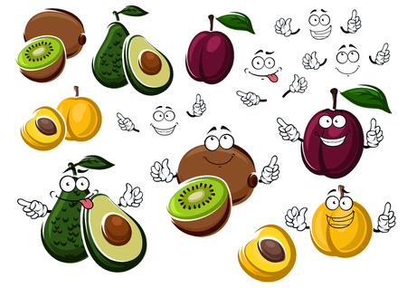 halved: Avocado pear, purple plum, yellow peach and fresh kiwi. Healthy cartoon tropical fruits halved and whole in two variations with or without smiling faces. Vector illustration isolated on white Illustration