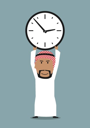 busy person: Time management or time is money business concept. Smiling cartoon arabian businessman holding office clock above head Illustration