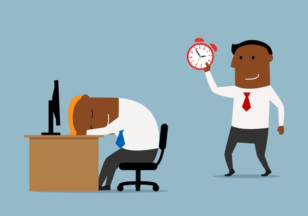 colleagues: Tired cartoon businessman sleeping at workplace and his colleague trying to wake him up with alarm clock. Overworking, stress, friendly joke theme design