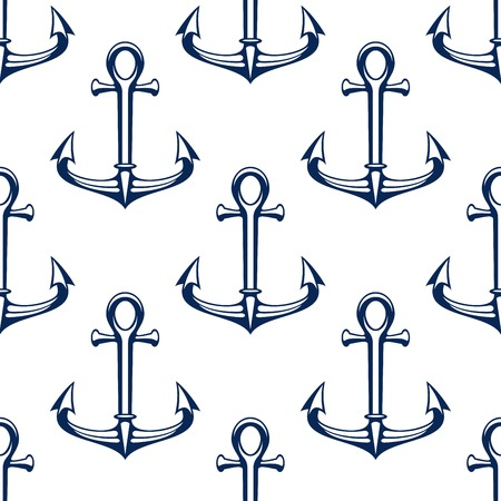 navy blue background: Seamless marine pattern with ship anchors. Nautical background with dark blue outline anchors over white. Travel, adventure or navy heraldry design