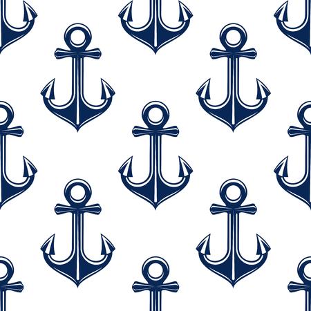drifting: Retro decorative blue seamless pattern on white background. Nice for nautical backdrop, marine travel or ocean theme design