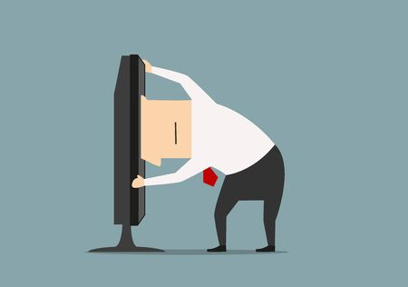 overwork: Overworked cartoon businessman stuck in monitor or computer. Vector. Business concept of www, internet and computer addiction