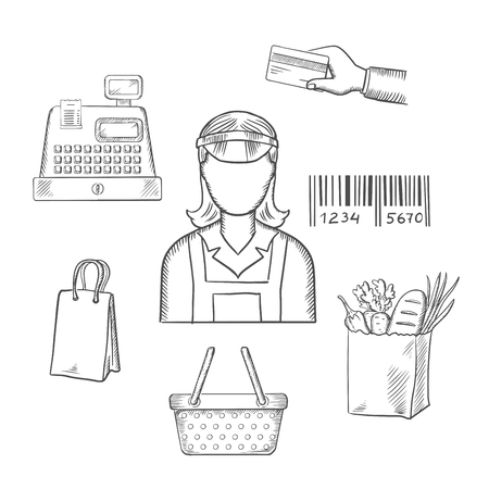Seller profession with shopping icons including a bag, cash register, credit card,  payment, bar code and groceries around a female shop seller. Sketch style vector