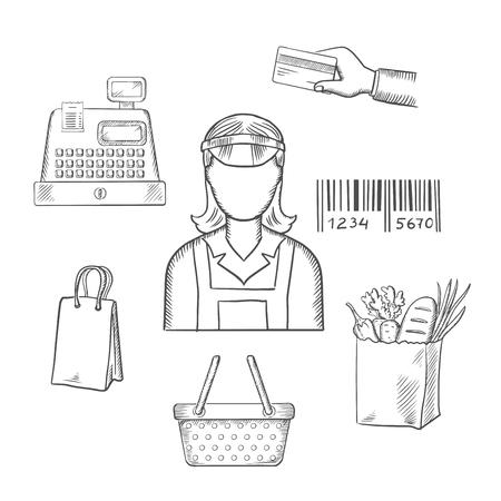Zawód sprzedającego z ikonami zakupów, w tym torbą, kasą, kartą kredytową, płatnością, kodem kreskowym i sklepami spożywczymi wokół sprzedawcy kobiet. Wektor stylu szkicu
