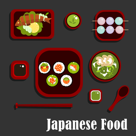 sauces: Japanese seafood and dessert flat icons with sushi rolls and salmon, avocado and red caviar, soy and wasabi sauces, grilled fish with lemon and cucumber, green tea soup with mushrooms and dango dumpling with drink