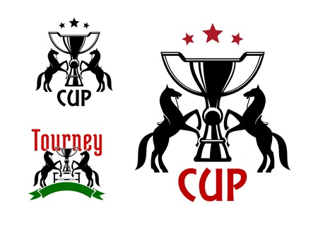 sport silhouette: Equestrian sport tourney emblems with black silhouettes of trophy cups, with rearing horses on both sides, supplemented by barrier, ribbon banner and stars