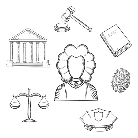 gavel: Law and justice sketch icons surrounding a lawyer with a courthouse, law book, fingerprint, police cap, scales and gavel. Lawyer profession concept